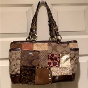 Coach Brown Leather patchwork tote handbag w/gold